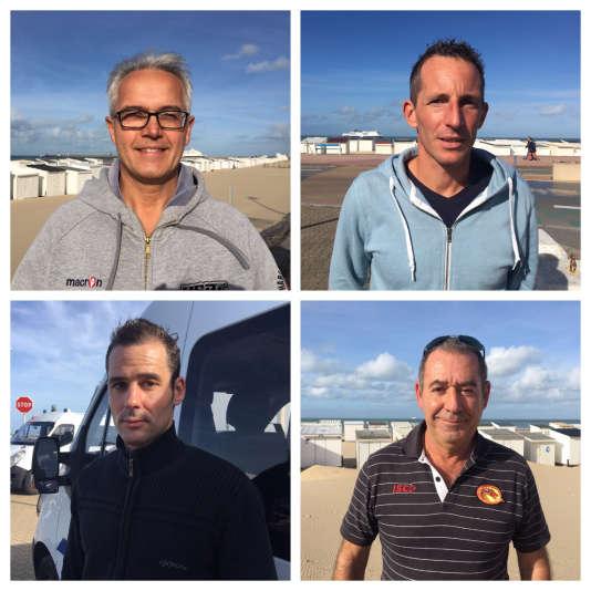 En commençant par le haut à gauche : Didier Sicart, du syndicat Alliance; Guillaume Boyer, d'UNSA-Police; Jacques Merinhos et Christian Rouane, tous deux délégués syndicaux Alliance, sur la plage de Calais.