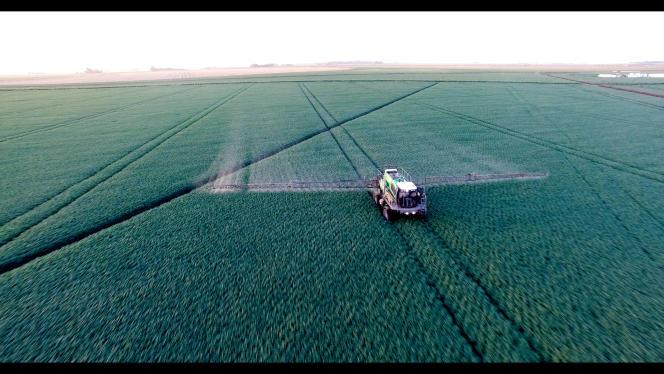 Épandage de Roundup sur un champ de soja transgénique en Argentine en 2016