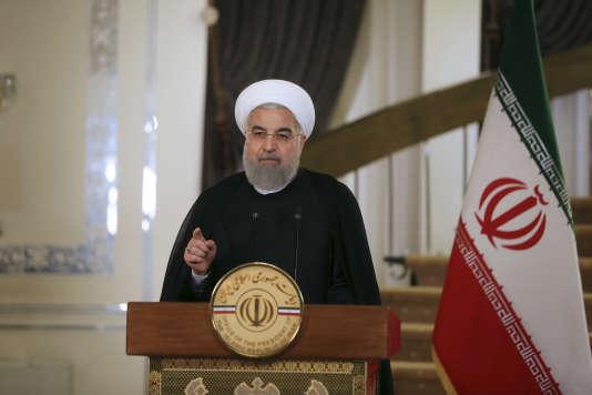 Hassan Rohani, lors de son allocution vendredi 13 octobre, à Téhéran (photo diffusée par le site officiel de la présidence iranienne).