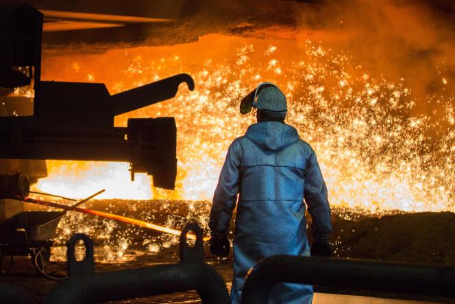 Dans l'aciérie de ThyssenKrupp, à Duisburg, en juillet 2016.