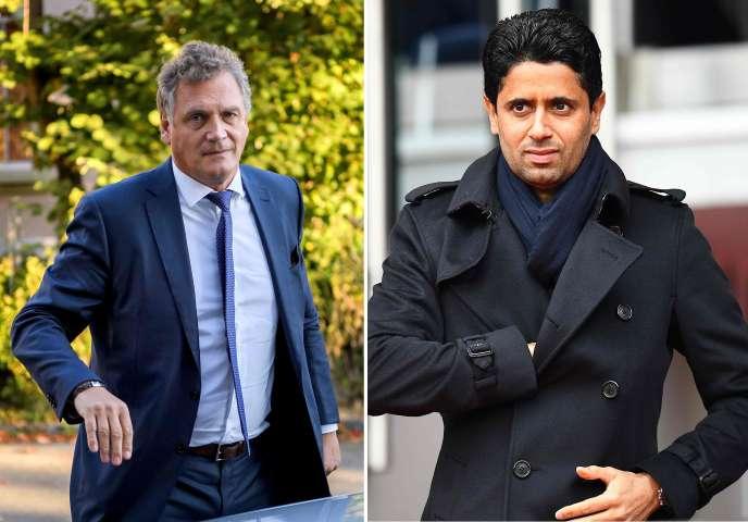 Jérôme Valcke, l'ex-numéro 2 de la FIFA, et Nasser Al-Khelaïfi, le président du PSG.