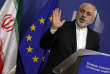 FILE - In this Feb. 15, 2016 file photo, Iranian Foreign Minister Mohammad Jawad Zarif speaks during a media conference at EU headquarters in Brussels. A European diplomat close to the Iran nuclear deal says EU foreign ministers are expected to call for the accord's continued implementation.  (AP Photo/Virginia Mayo)