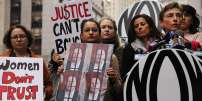 NEW YORK, NY - OCTOBER 13: Members of the National Organization for Women (NOW) hold a news conference and demonstration outside of Manhattan Criminal Court where Cyrus R. Vance Jr., the Manhattan district attorney, has his office on October 13, 2017 in New York City. Vance has come under intense criticism from both women's groups and others for his decision not to pursue sexual abuse charges against movie producer Harvey Weinstein in 2015. Spencer Platt/Getty Images/AFP == FOR NEWSPAPERS, INTERNET, TELCOS & TELEVISION USE ONLY ==