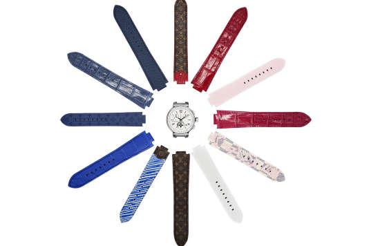 Louis Vuitton Tambour Moon Star et un aperçu des possibilités de bracelets.