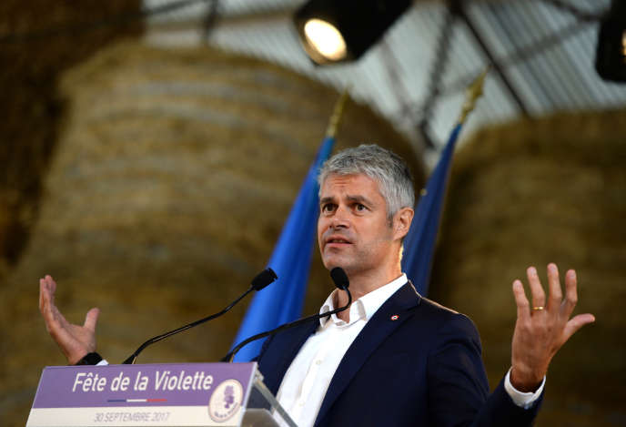 Le candidat à la présidence du parti Les Républicains Laurent Wauquiez, le 30 septembre 2017 à Souvigny-en-Sologne (Loir-et-Cher).
