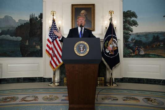 Donald Trump lors de son intervention sur le dossier iranien, depuis la Maison Blanche, le 13 octobre. Depuis son entrée en fonction, le 20janvier, Donald Trump a certifié le Plan d'action conjoint à deux reprises: le 18avril et le 17juillet.
