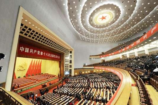 Vue générale de l'immense salle du congrès du Parti communiste chinois, le 8novembre 2012.