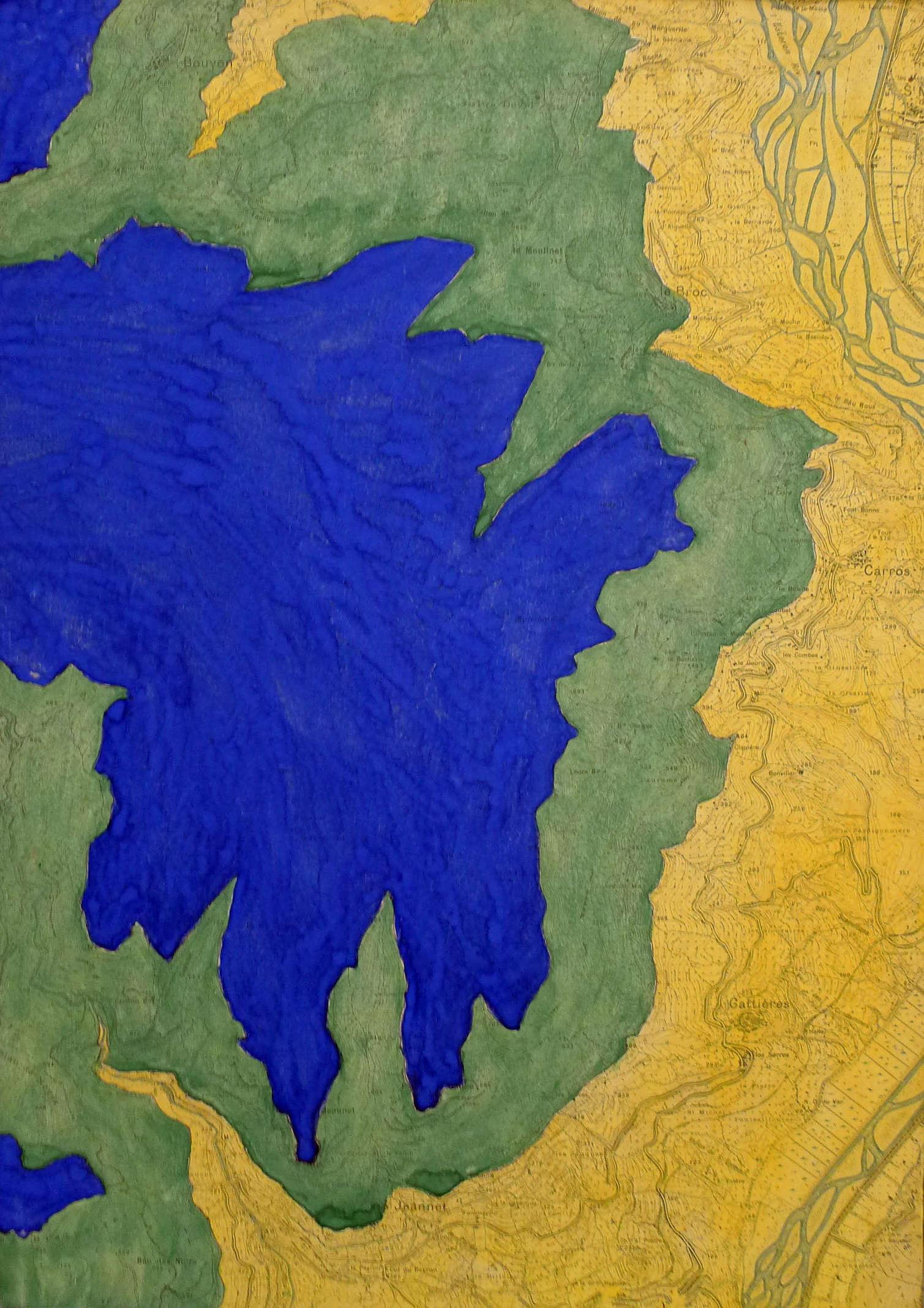 """«Les artistes qui formeront Supports/Surfaces opèrent une """"mise en crise"""" du tableau de chevalet. La crise du tableau est aussi une crise de la forme, le langage abstrait qui apparaît comme une rhétorique vide. Dans cette œuvre de Patrick Saytour, les courbes de niveaux déterminent la répartition des formes colorées. »"""