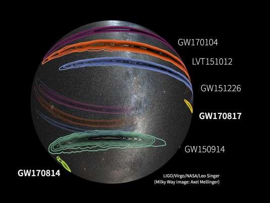 Position dans le ciel de l'origine des cinq ondes gravitationnelles détectées jusqu'à présent. La dernière, GW170817, est celle qui est localisée le plus précisément.