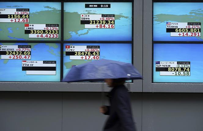 Panneau affichant la valeur de l'indice boursier Nikkei dans une rue de Tokyo, le 19 octobre 2017.