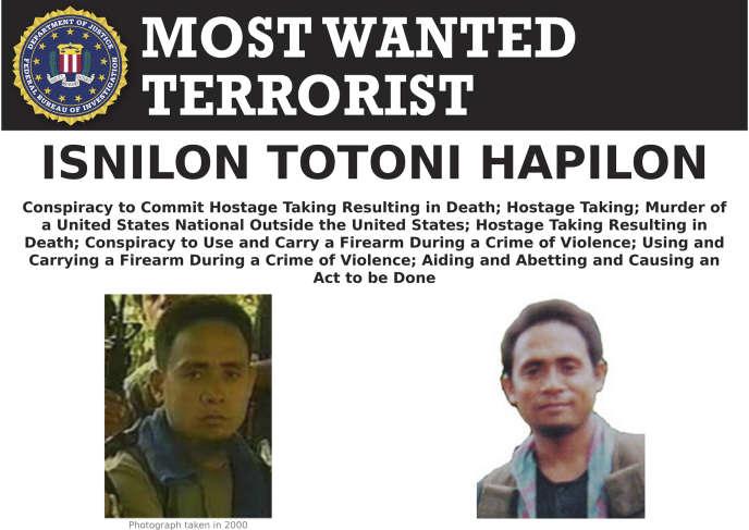 Des avis de recherche du FBI étaient diffusés pour retrouver Isnilon Hapilon.