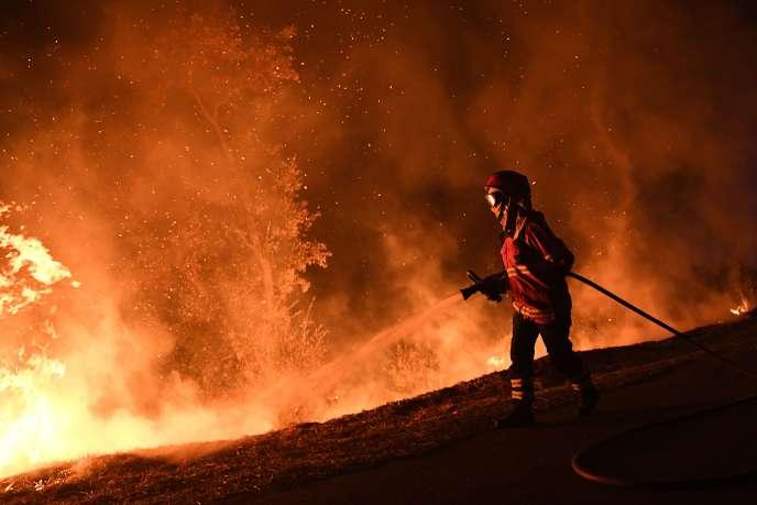 Près de 3600 pompiers luttaient encore contre les flammes, dans la nuit du lundi 16 au mardi 17 octobre, au Portugal.