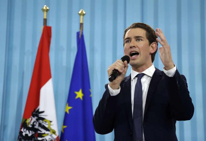 Sebastian Kurz, le dimanche 15 octobre 2017, après la fermeture des bureaux de vote à Vienne, en Autriche, où se détoulaient les élections législatives.