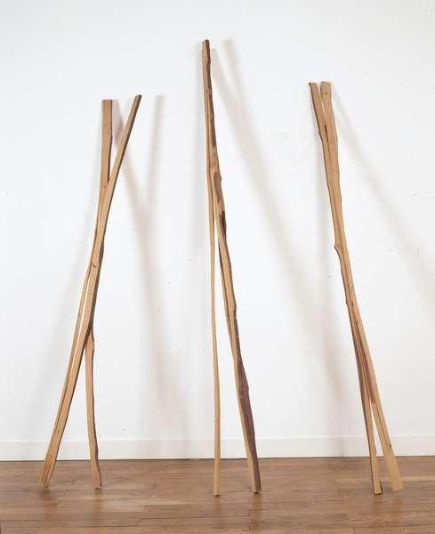 «Supports/Surfaces se révèle à l'opposé de la fascination industrielle et urbaine des Trente Glorieuses. Le groupe présente un mouvement à rebours qui s'accompagne d'un intérêt pour des gestes premiers de transformations : teindre, ligaturer, nouer, tresser, coudre... Cette sculpture de Toni Grand donne à voir une succession de ces gestes simples opérés sur le bois: bois sec débité, tordu, pincé, collé et refentes partielles. »