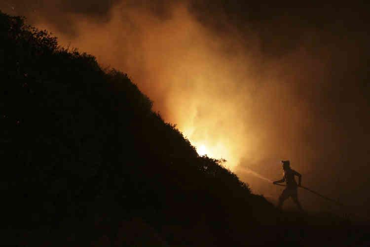Près d'Obidos, au Portugal, lundi 16 octobre. Au moins six personnes ont été tuées dimanche alors que des centaines de feux de forêt se sont répandus au Portugal, alimentés par des températures élevées, des vents forts et une sécheresse persistante.