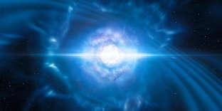 Vue d'artiste de la collision entre deux étoiles à neutrons.