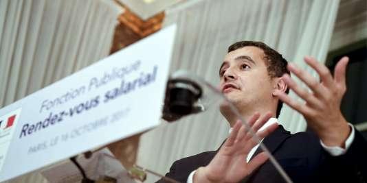 Le ministrede l'action et des comptes publics Gerald Darmanin, lors d'une conférence de presse, après sa réunion avec les syndicats le 16 octobre.