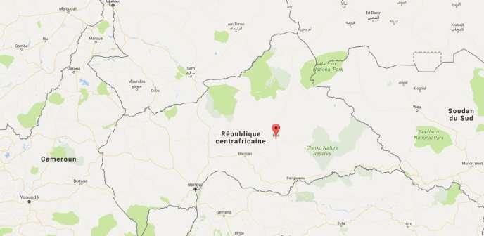 Google Map situant la région de Bria en République centrafricaine.