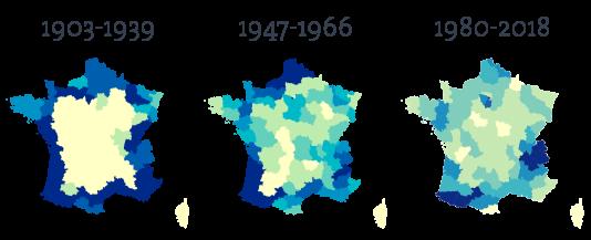 L'évolution du tracé du Tour de 1903 à 2018, vers une concentration sur les massifs montagneux.