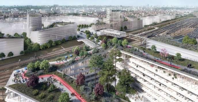 Vue d'artiste du projet du futur quartier de Vitry-Les Ardoines (Val-de-Marne).