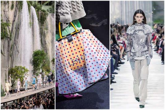De gauche à droite : Chanel, Balenciaga, Valentino.