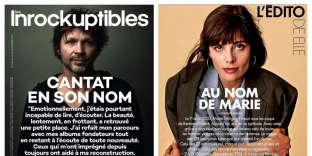 """La Une des """"Inrocks"""" du 11 octobre et l'éditorial de """"Elle"""" dans son édition du 19 octobre."""