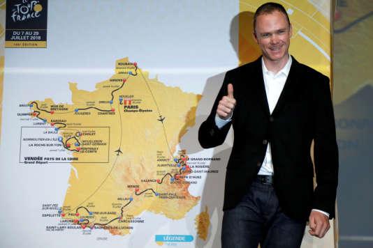 Chris Froome lors de la présentation du tracé du Tour de France 2018.