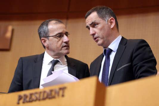 Jean-Guy Talamoni, président de l'Assemblée de Corse, et Gilles Simeoni, président du conseil exécutif, à Ajaccio,le 25 février 2016.