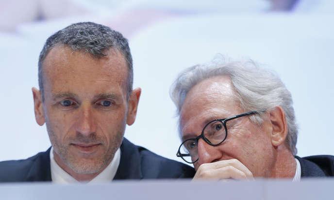 Le futur PDG, Emmanuel Faber (à gauche), et Franck Riboud, en avril 2015.