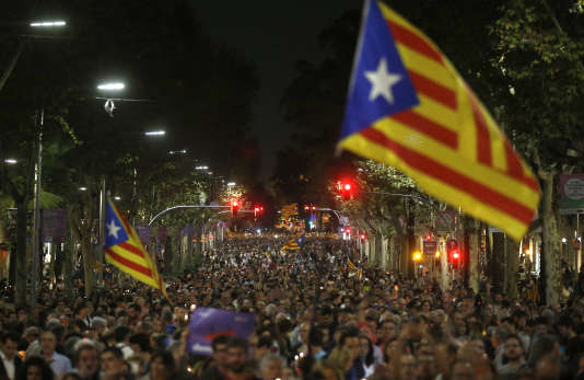 Manifestation des indépendantistes catalans, le 17 octobre à Barcelone.