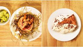 A gauche, caille fumée et brocolis à la râpe avec vinaigrette tourbée ; à droite, brownie aux amandes et crème fouettée à la vanille.