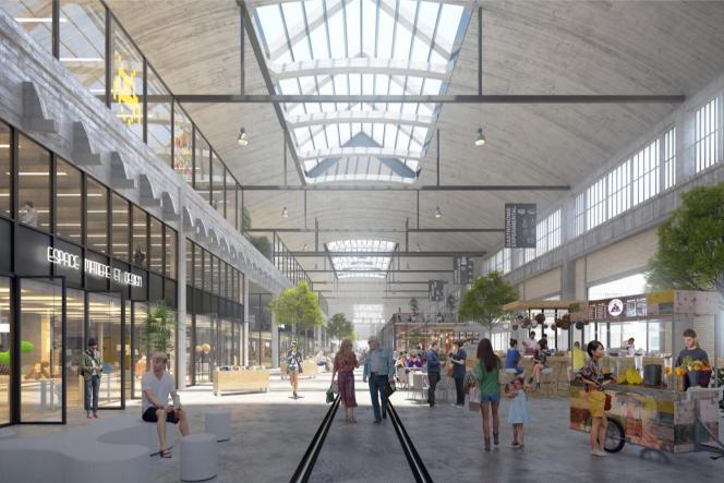 Le projet de Linkcity dans les anciennes structures ferroviaires de la gare de Vitry-les Ardoines. Les grandes halles réhabilitées accueilleront des commerces.