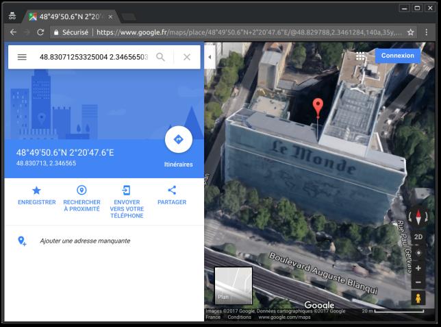 Les coordonnées GPS correspondent parfaitement au siège du «Monde».