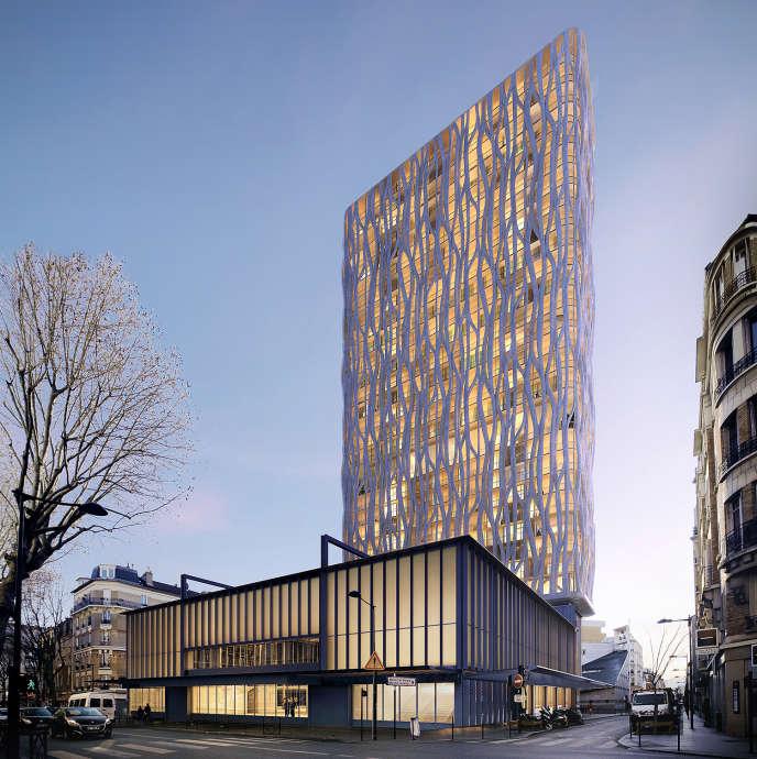 AClichy-La-Garrenne , une tour de béton fibré et de verre viendra s'adosser à la Maison du Peuple, qui deviendra une antenne du centre national Georges Pompidou.