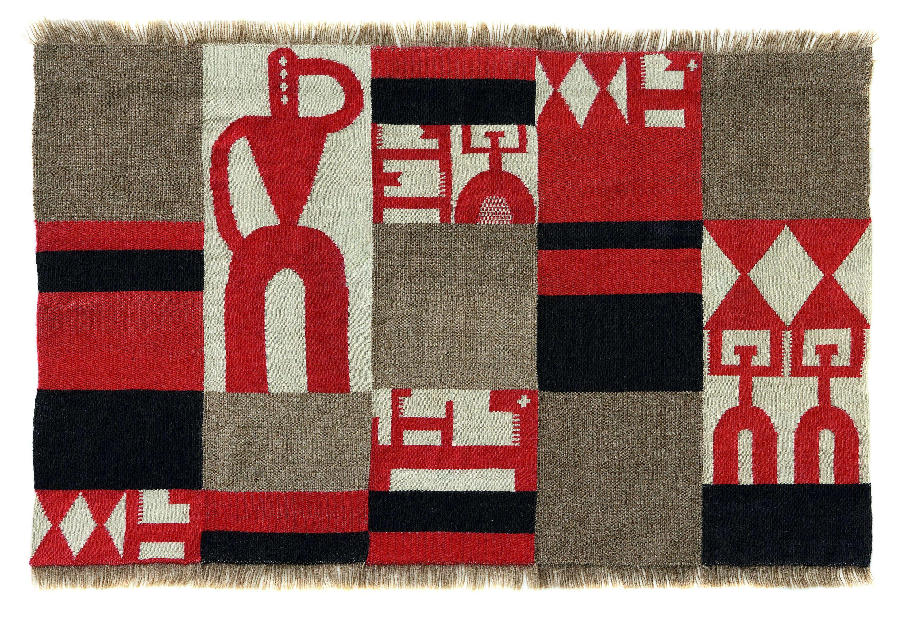 Jean Arp et Sophie Taueber, sa compagne, réalisent ensemble de nombreuses oeuvres qui tendent vers l'abstraction : des aquarelles aux assemblages, en passant comme ici par la tapisserie et la broderie, ils se réfèrent à des sources extra-occidentales.