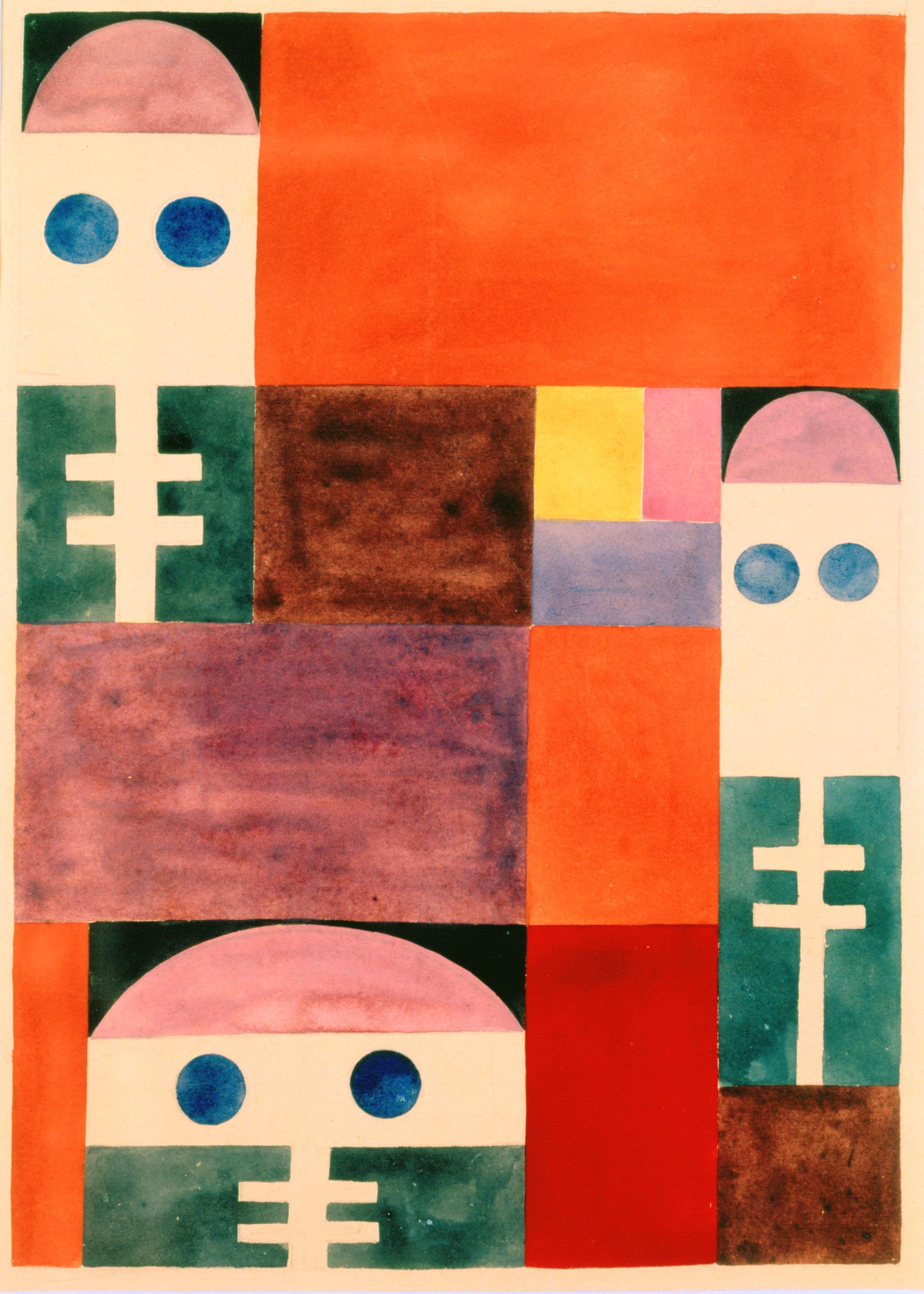 Parmi les œuvres d'une grande diversité créées par Sophie Taeuber-Arp, on trouve ces motifs abstraits dont la forme - et le principe même de représentation - rappelle des masques provenant d'Afrique, dotés d'une palette haute en couleurs.