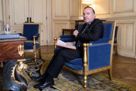 Le president du Medef, Pierre Gattaz, lors de son entrevue au palais de l'Elysée avec Emmanuel Macron, à Paris le12 octobre.