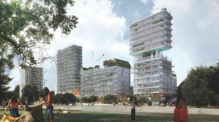 A Joinville-le-Pont, sur une zone inondable, le projet « Passerelles » se construit autour d'une résidence pour seniors, lieu central de ce nouveau quartier. Un potager urbain sur la toiture affirme la volonté de partage.