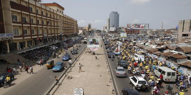 Le quartier de Dantokpa, à Cotonou, en mars 2016.