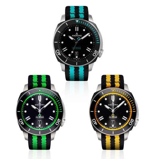 Anonimo décline toute sa gamme nautique, les Nautilo, sur des bracelets NATO.