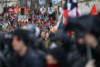 Protestors, holding CGT labour union flags, attend a demonstration against French government labour reforms in Nantes, France, October 19, 2017. REUTERS/Stephane Mahe