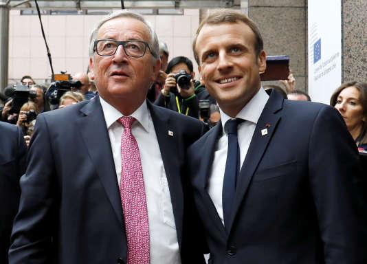 Emmanuel Macron et Jean-Claude à Bruxelle, le 19 octobre 2017.