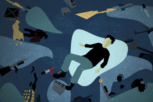 Claude, ancien soldat de 48 ans, est atteint de stress post-traumatique. Illustration de Quentin Hugon.