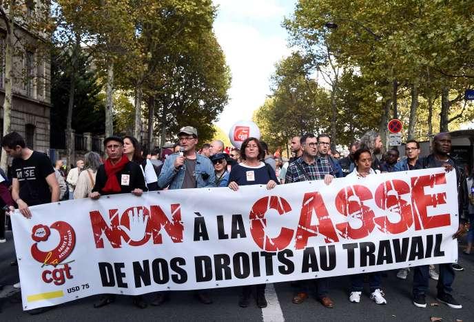 Manifestation à l'appel de la CGT, le 19 octobre, à Paris.