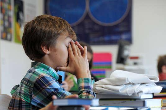 Un élève dans une école de Strasbourg, à la rentrée 2012.