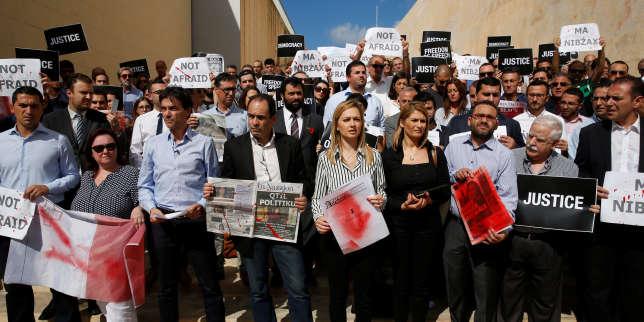 Manifestation de journalistes, le 19 octobre à La Valette, après l'assassinat deDaphne Caruana Galizia.