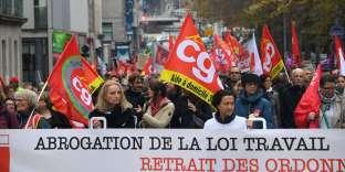 Manifestation contre la réforme du code du travail, à Rennes, le 19 octobre.