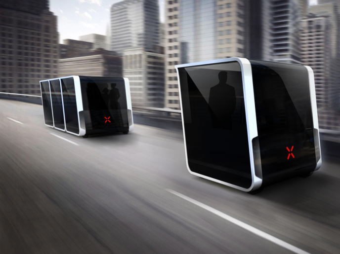 Vue d'artiste du projet de transport autonome de Next Future Mobility.