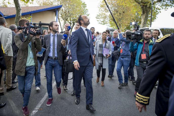 Edouard Philippe lors de l'inauguration de la Maison de Santé de Châlus (Haute Vienne) en présence de Agnès Buzyn, ministre des Solidarités et de la Santé, vendredi 13 octobre.