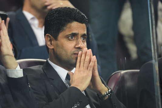 Nasser Al-Khelaïfi,le président du PSG,lors du match de C1 contre Anderlecht à Bruxelles,le 18 octobre. STEPHANE MANTEY / PRESSE SPORTS